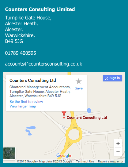 Counters Consulting Limited Turnpike Gate House,Alcester Heath,Alcester,Warwickshire,B49 5JG  01789 400595 accounts@countersconsulting.co.uk